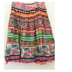 Skirt Lined Sequins Ribbons Vibrant Florals SZ 4
